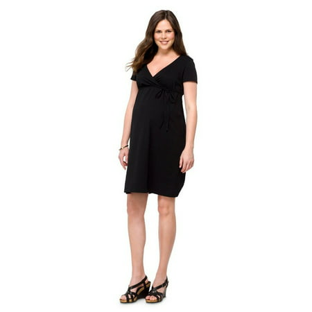 Maternity Short Sleeve Nursing Friendly Dress Black L Liz Lange