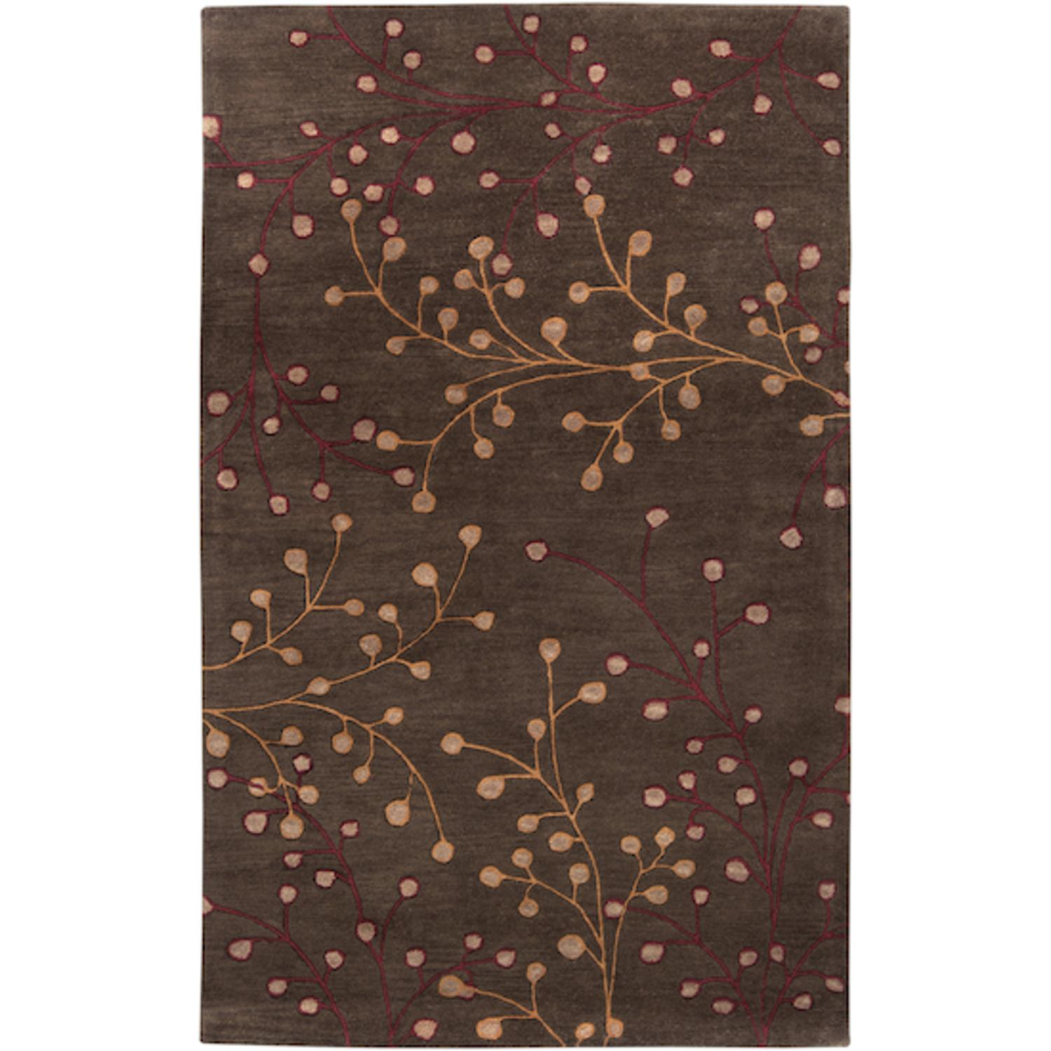 5' x 8' Fair Enoki Wine Red and Coffee Bean Brown Wool Area Throw Rug