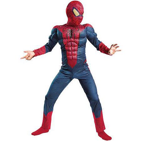 Marvel Comics Boys Muscle Torso Amazing Spiderman Costume with Mask
