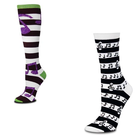 - Bundle 2 Items: Music Notes Rugby and Stripes Medium Socks