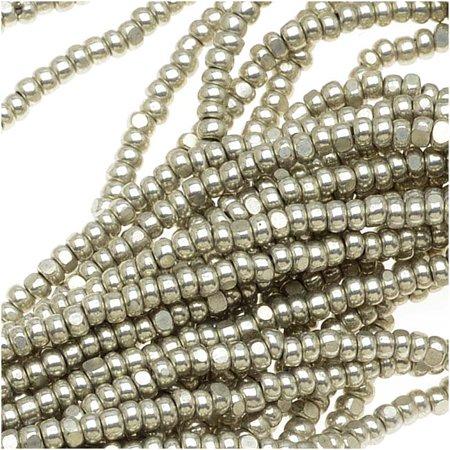 Chrome Terra Single (Czech Single Cut Charlotte Seed Beads 13/0 Metallic Grey Terra 1/2 Hank )