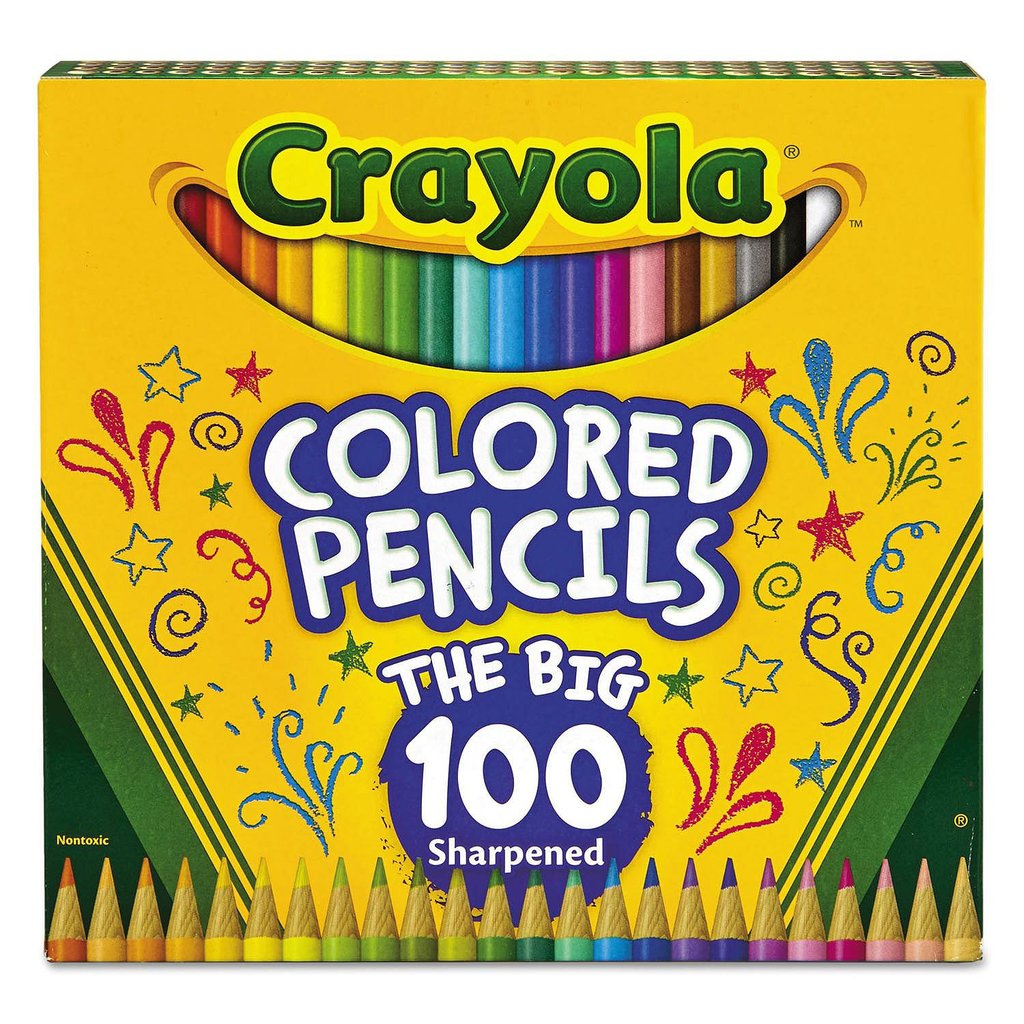 Crayola Long Barrel Colored Woodcase Pencils 3.3 mm 100 Assorted Colors