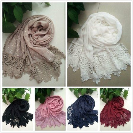 NEW Fashion Women Ladies Autumn Winter Long Soft Shawl Cotton Floral Lace Scarf Scarves