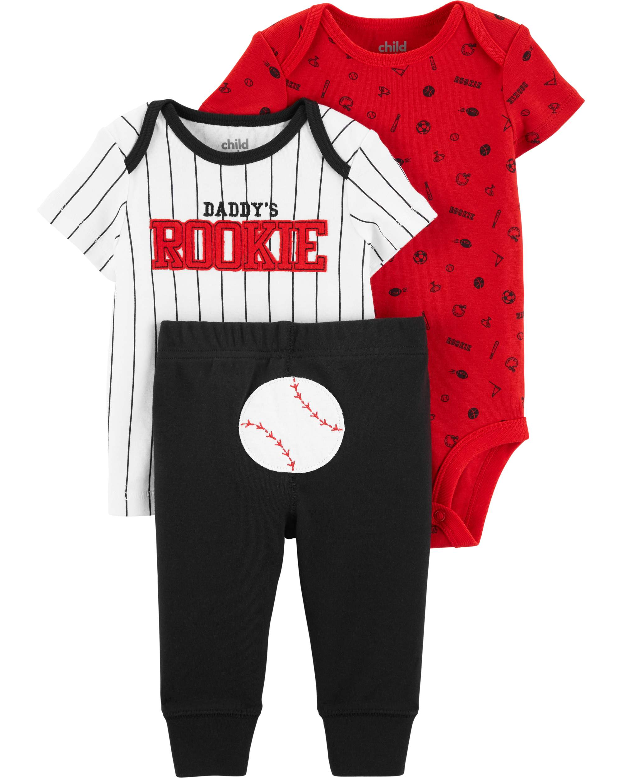 Short Sleeve T-Shirt, Bodysuit, and Pants Outfit Set, 3 pc set (Baby Boys)