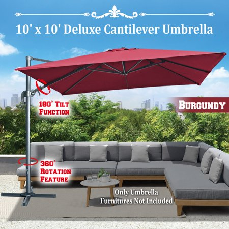 Strong Camel BURGUNDY-10'x10' Deluxe Hanging Cantilever Patio SPA Pool Side Umbrella Heavyduty Outdoor Sunshade Offset Umbrella UV50+ Tilt & 360 Rotation, with Protect Cover 10' Side Post Offset Umbrella
