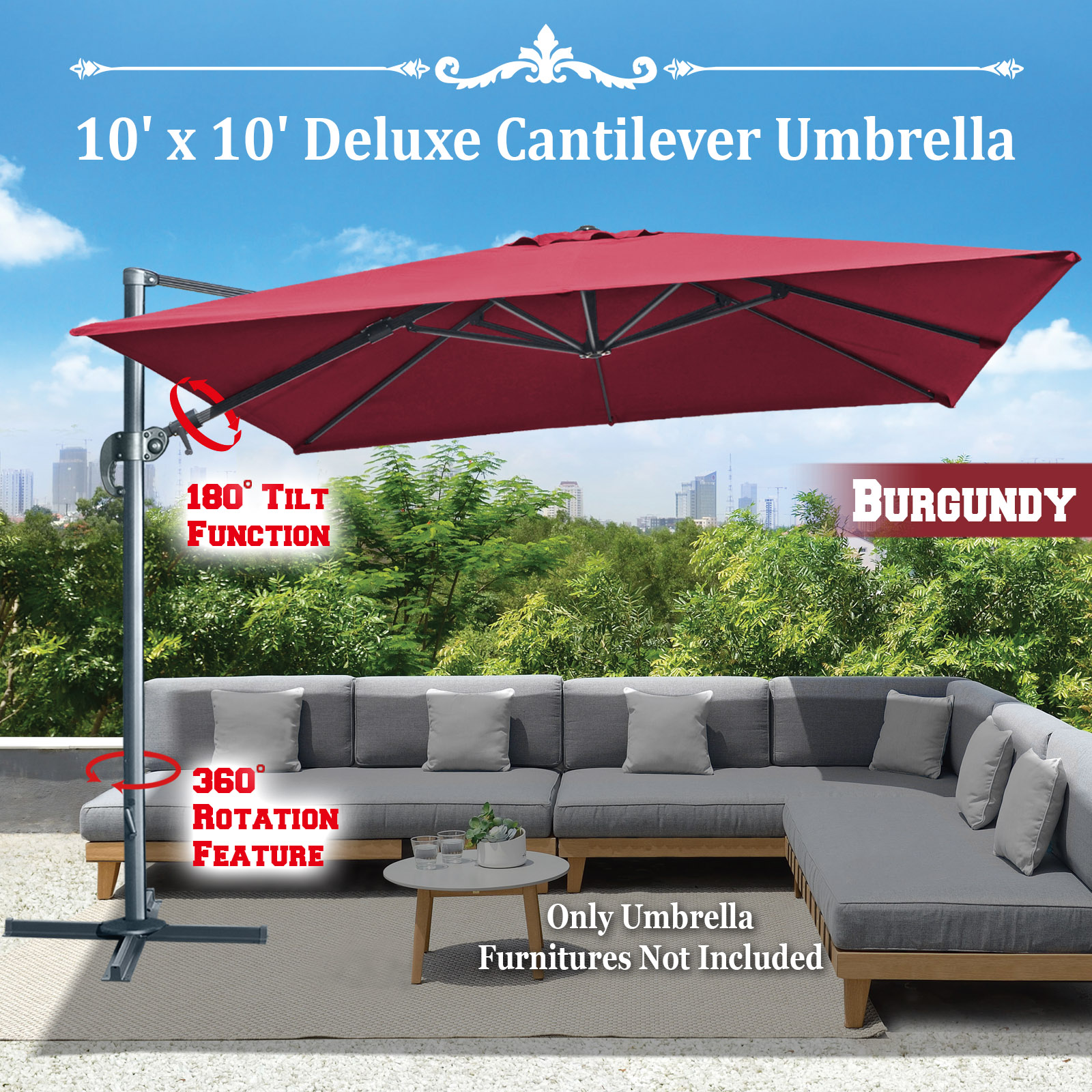 Strong Camel BURGUNDY-10'x10' Deluxe Hanging Cantilever Patio SPA Pool Side Umbrella Heavyduty Outdoor Sunshade Offset Umbrella UV50+ Tilt & 360 Rotation, with Protect Cover