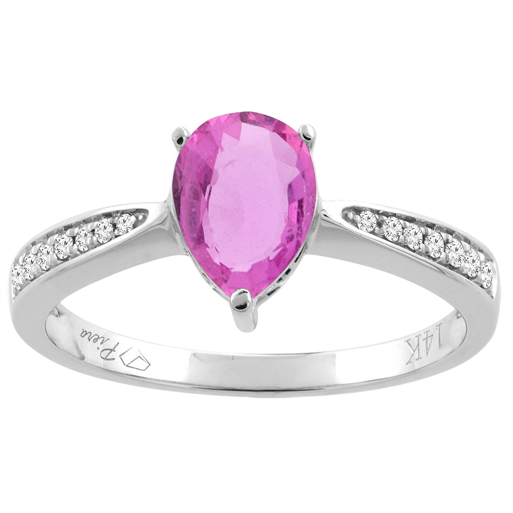14K White Gold Natural Pink Sapphire Ring Pear Shape 8x6 mm Diamond Accents, size 5 by Gabriella Gold