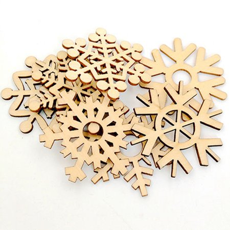 Mosunx 10Pcs Assorted Wooden Snowflake Xmas Wedding Tree Hanging Ornament Decor - Snowflake Decor