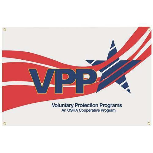 QUALITY RESOURCE GROUP VBA35 Banner,VPP Star Worksite,3 x 5 ft.