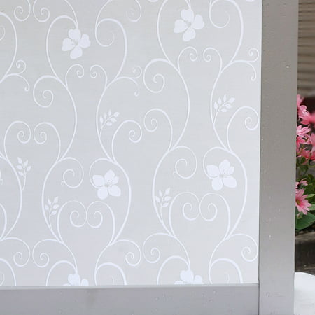 45x100cm Frosted Glass Scroll Flower Window Static Cling Self Adhesive Film Home Decor