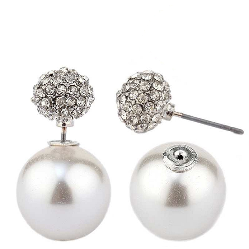 Zirconmania - Classic Double Sided Peek-A-Boo Style Pave Ball And Pearl Earrings