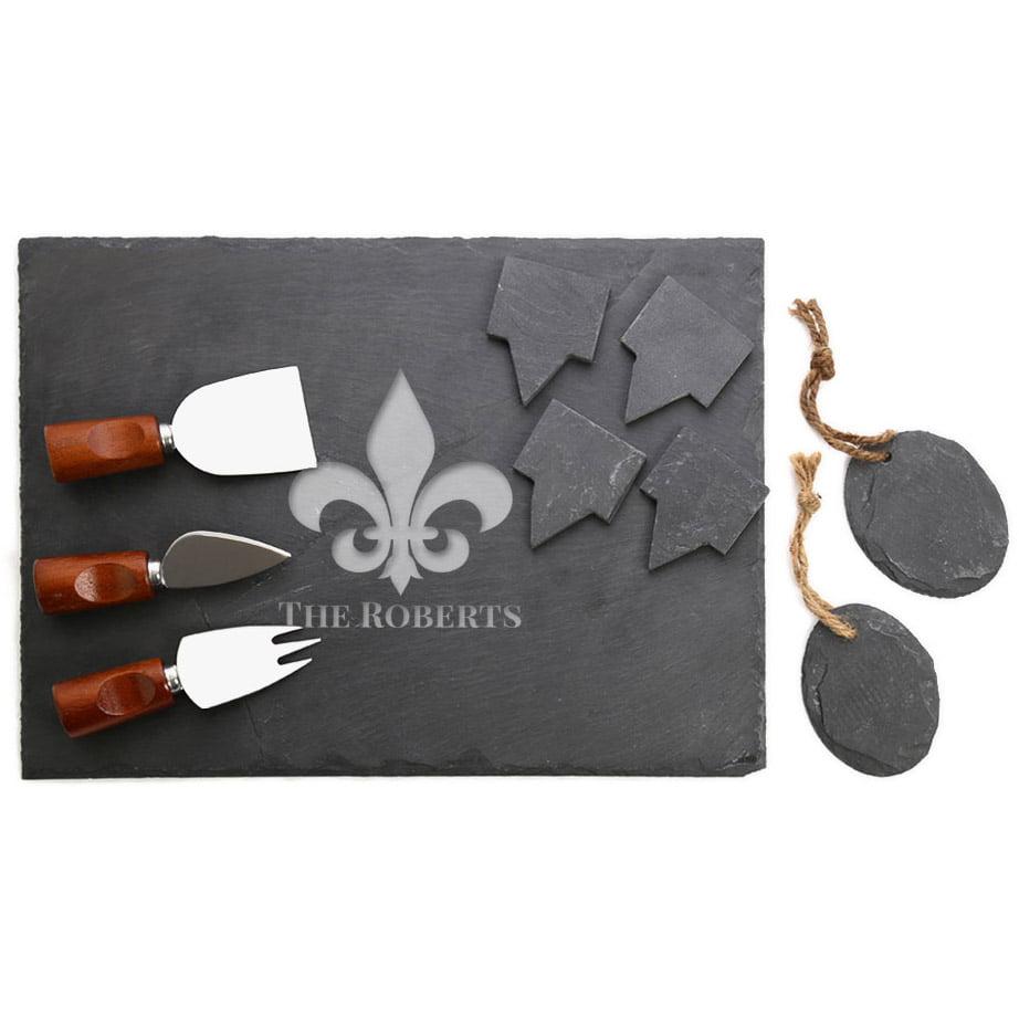 Custom Fleur-De-Lis 10-Piece Slate Cheeseboard & Party Tray