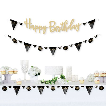 Adult 90th Birthday - Gold - Birthday Party Letter Banner Decoration - Real Gold Glitter Happy Birthday Banner Letters