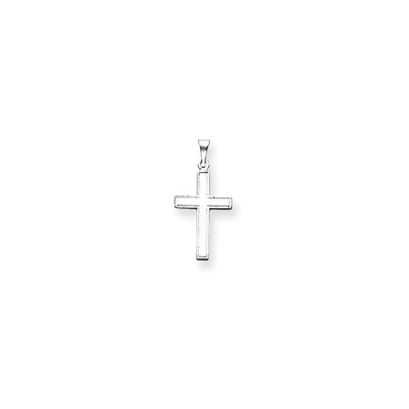 14k White Gold Florentine Latin Cross Pendant