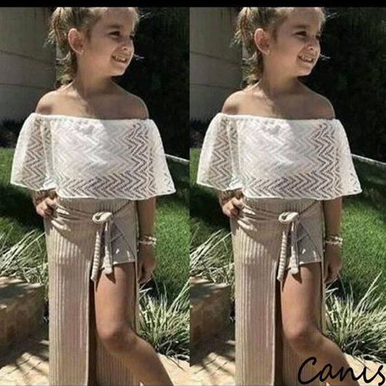 1a267cb600d Emmababy - Kids Toddler Baby Girl Lace Off-Shoulder T-shirts Tops ...