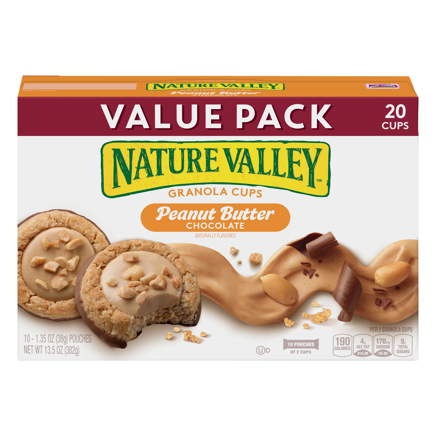 Nature Valley Peanut Butter and Chocolate Granola Cups, 13.5 oz, 1.35 OZ