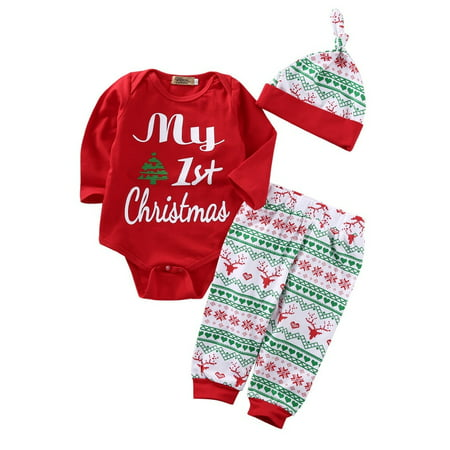 Newborn Baby Boys Girls First Christmas Clothes Romper Pants Hat Outfit Set 3PCS