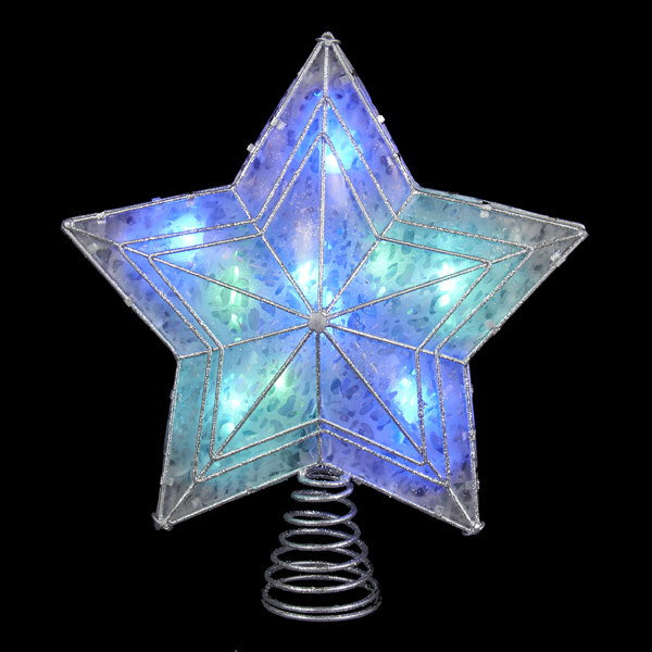 12 Quot Led Lighted Color Changing Silver Glitter Star