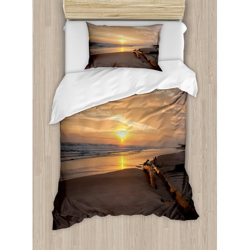 Ambesonne Driftwood Sun Rises over a Distant Horizon Sandy Beach Duvet Cover Set