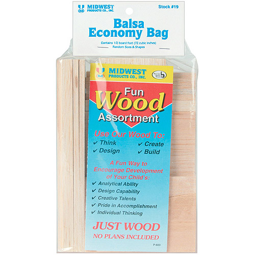Midwest Products Wood Assortment Economy Bag, Balsa