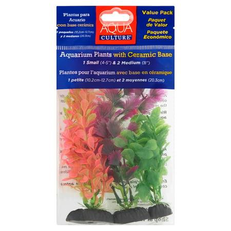 (2 Pack) Aqua Culture Aquarium Plants with Ceramic Base, 3 count Tropical Fish Aquarium Plants