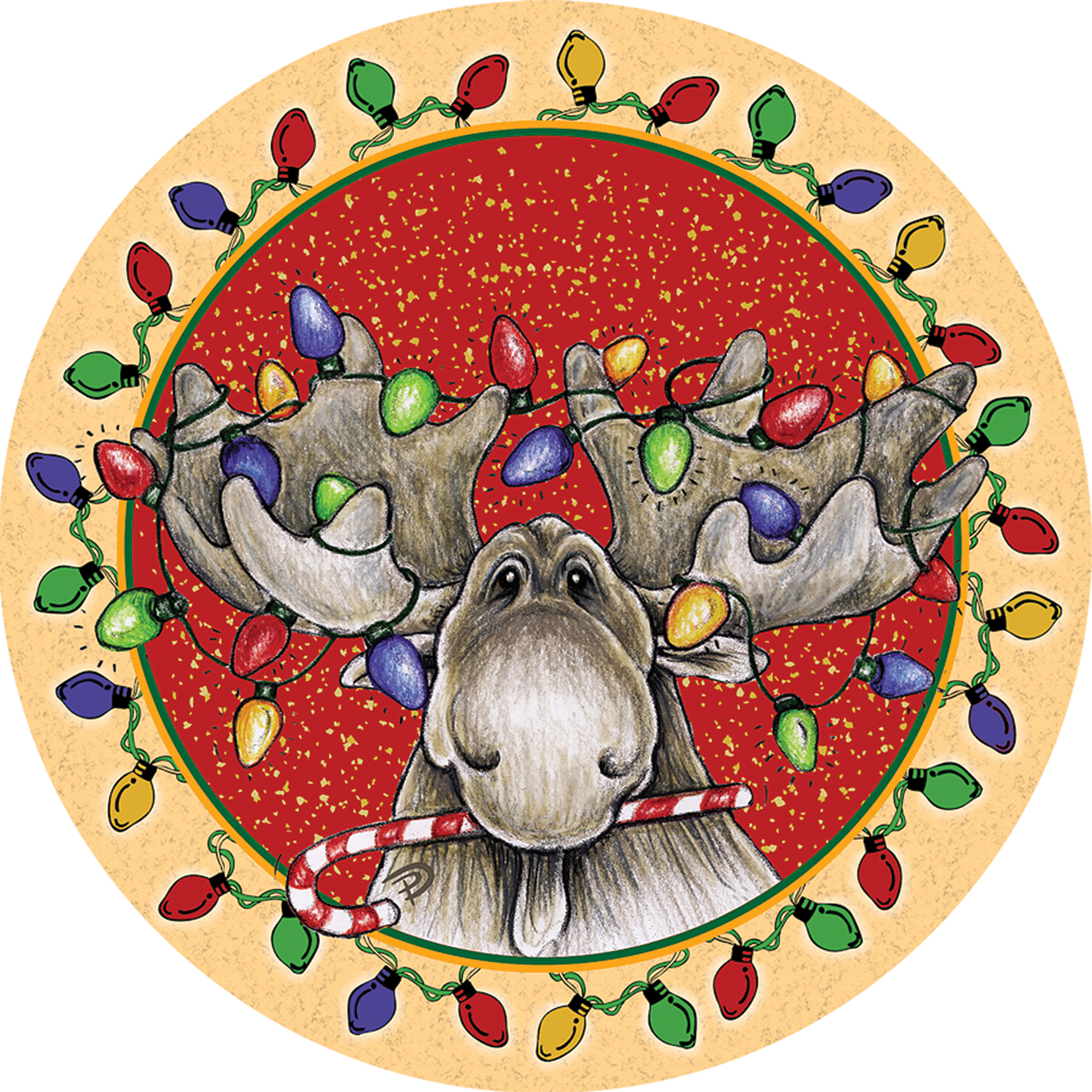 Thirstystone Occasions Drink Coasters, Big Sky Christmas Moose