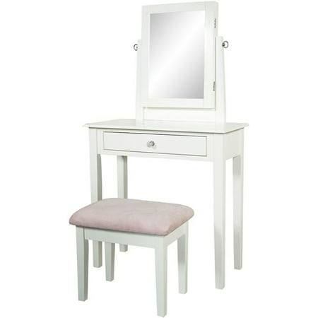 Mobile Vanity Storage Bench - Youth Vanity, Bench and Mirror Set with Jewelry Storage, White