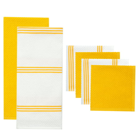 Sticky Toffee Cotton Terry Kitchen Towel and Dishcloth Set, Yellow, 6 Pack