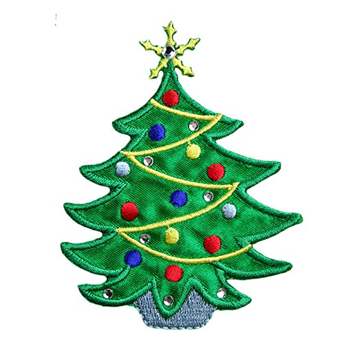 Christmas Pine Tree Holiday Decoration Noel Self Adhesive Iron On Applique Patch