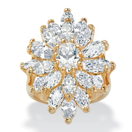 White Cubic Zirconia Cluster (8.31 TCW Oval and Marquise-Cut White Cubic Zirconia Starburst Cluster Cocktail Ring 14k Yellow)