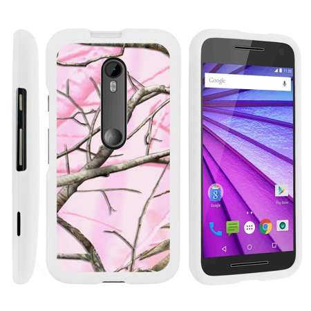 Motorola Moto G 3rd Gen, [SNAP SHELL][White] Hard White Plastic Case with Non Slip Matte Coating with Custom Designs - Pink Hunter Camouflage - 3rd Grade Class Halloween Party