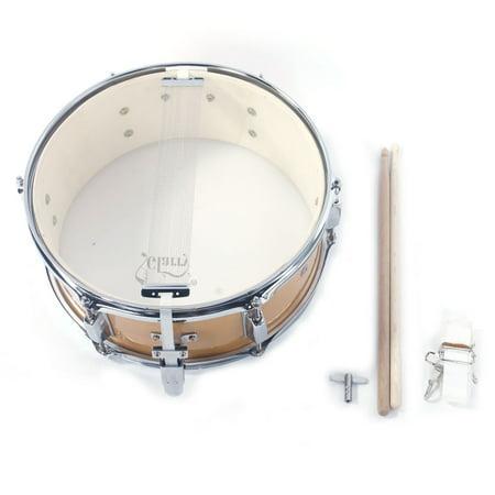 FeelGlad 14x5.5 Inch Snare Drum Poplar Wood Drumsticks Drum Key Strap Drum Kit for Beginner or Professional Drummer, Burlywood