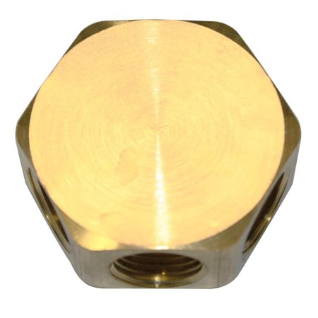 (Interstate Pneumatics FPM44R Brass Flat Hex Manifold - 3 Way Outlets 1/4
