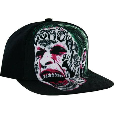 Joker Hat (Suicide Squad Joker Tattooed Face Adult Flat Brim Snapback)