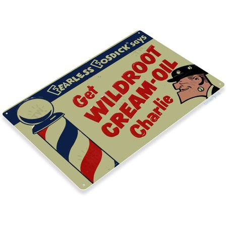 Barbershop Led Sign (TIN SIGN Wildroot Cream-Oil Metal Décor Art Barber Pole Shop Store Farm A683)