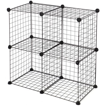 SortWise Multi Use DIY 4 Cube Grid Wire Storage Shelves, Cube Closet Organizer Bookcase Bookshelf Stackable Storage -Black - image 1 of 6