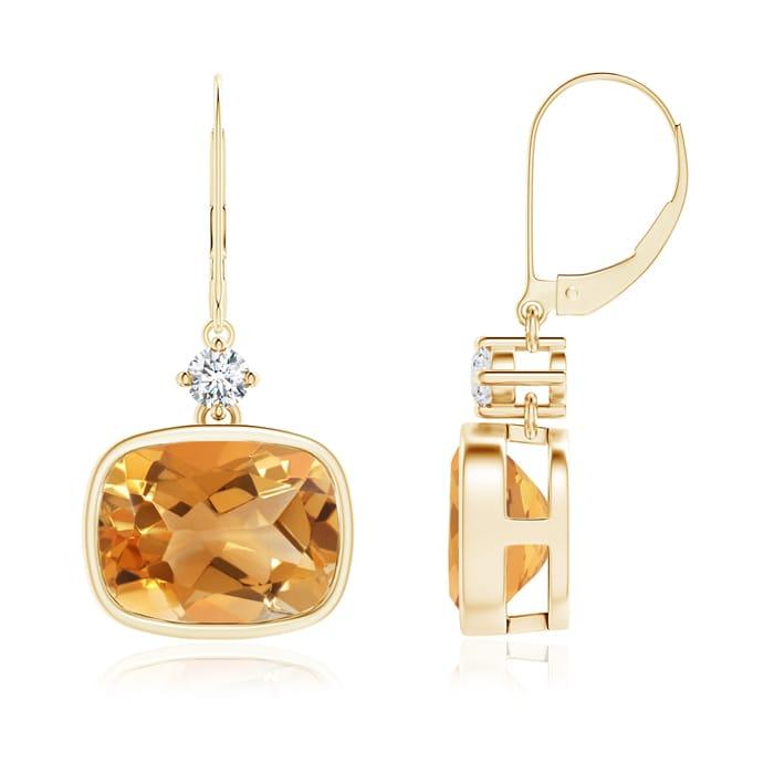 Angara Cushion Citrine Diamond Leverback Dangle Earrings in White Gold NTpnAb