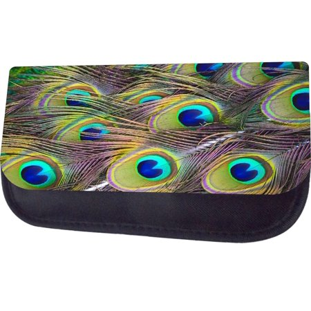Bag Of Peacock Feathers (Peacock Feathers - Black Multi-Purpose Cosmetic Case - Bag - with 2 Zippered Pockets and Nylon)