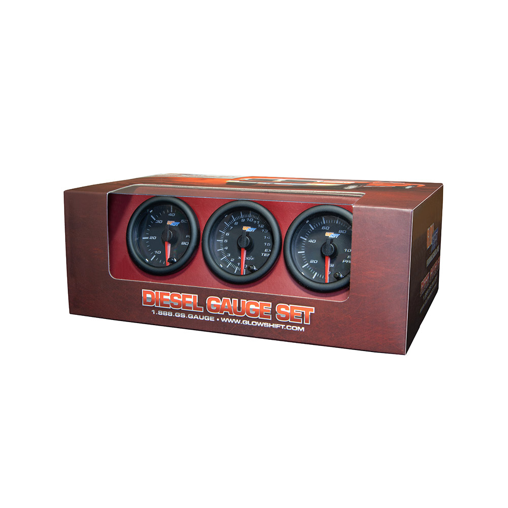 GlowShift  Black-7-Color-Diesel-Gauge-Set-Boost-Pyrometer-EGT-100-Fuel-Pressure