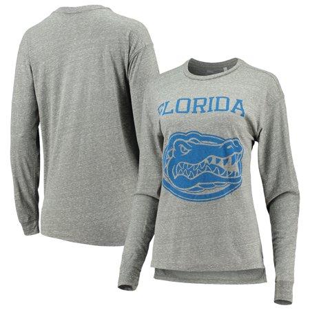 Florida Gators Pressbox Women S Fight Song Knobi Tri Blend Long Sleeve T Shirt Heathered Gray
