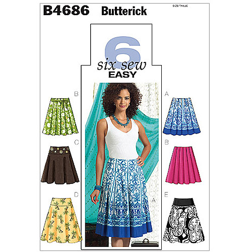 Butterick Pattern Misses' Skirt, EE (14, 16, 18, 20)