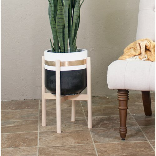 Wrought Studio Glenlee Handcrafted Fiber Clay Pot Planter With Plant