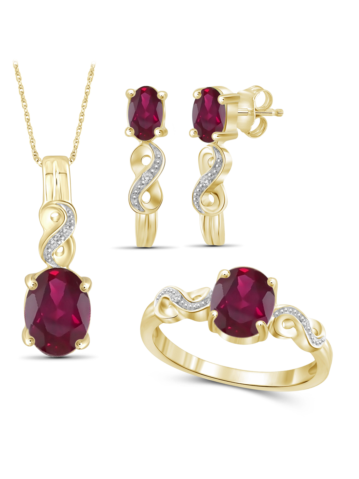 4 1/3 Carat T.G.W. Ruby And White Diamond Accent 14K Gold over Silver 3-Piece Jewelry set