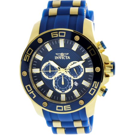 Men's Pro Diver 26087 Gold Silicone Japanese Chronograph Diving (Geneva Chronograph Style Silicone)