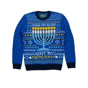 Ugly Christmas Sweater Mens Blue Light My Menorah Hanukkah Crewneck Sweater S