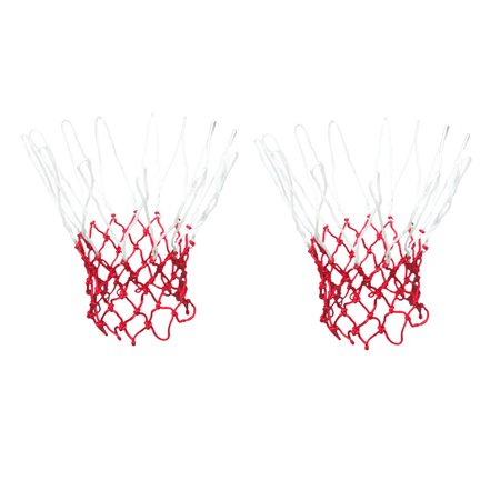 2 Pcs 18  Long Standard Nylon Knotted Basketball Nets White Red - Red Ball 2 Cool Math