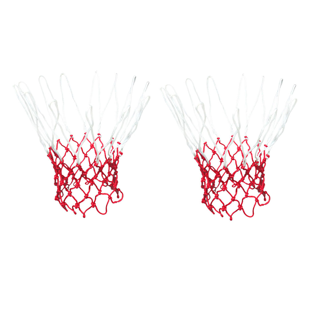 2 Pcs 18  Long Standard Nylon Knotted Basketball Nets White Red