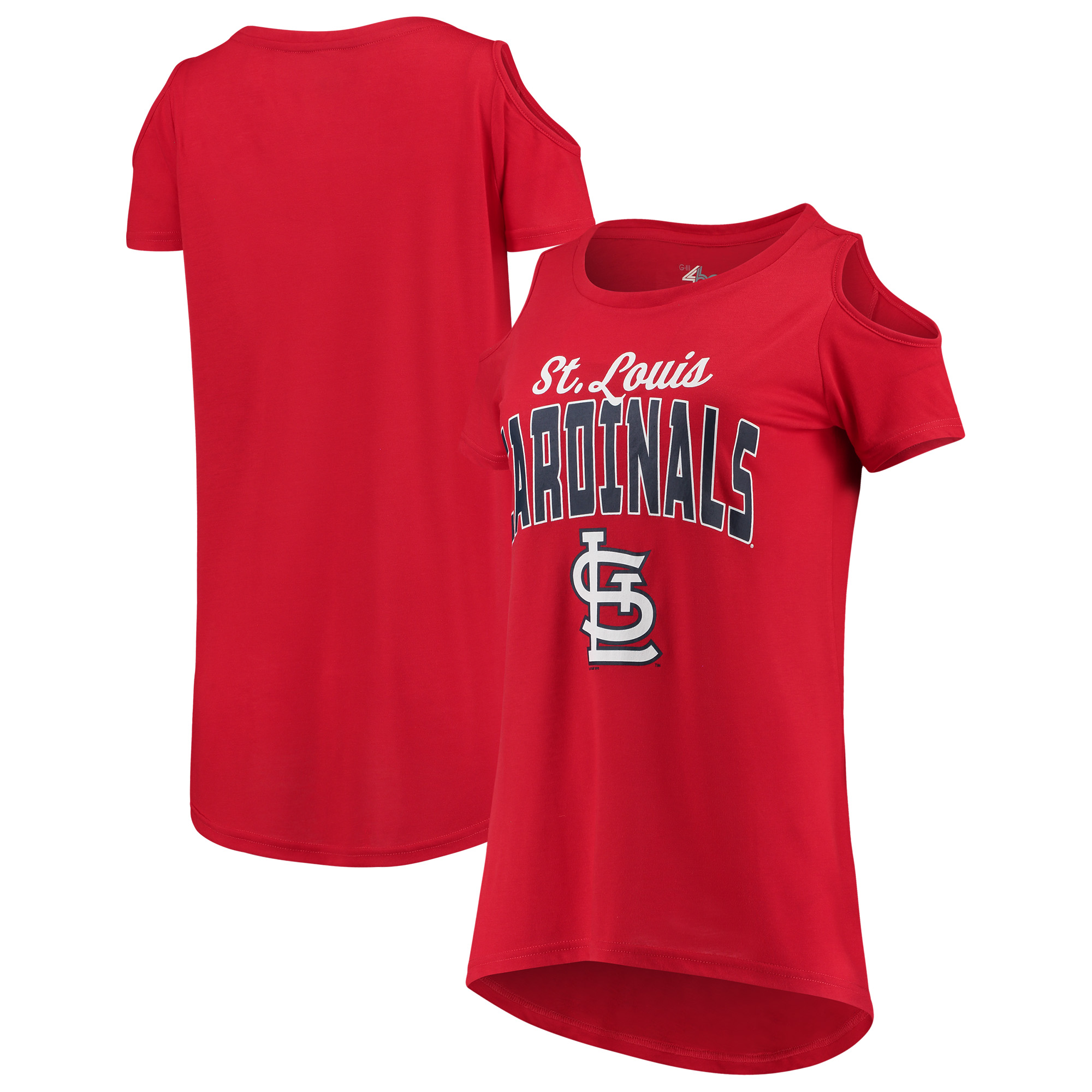 St. Louis Cardinals G-III 4Her by Carl Banks Women's Clear the Bases Cold Shoulder T-Shirt - Red