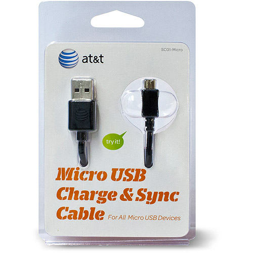 AT&T USB Sync and Charge Cable, Black