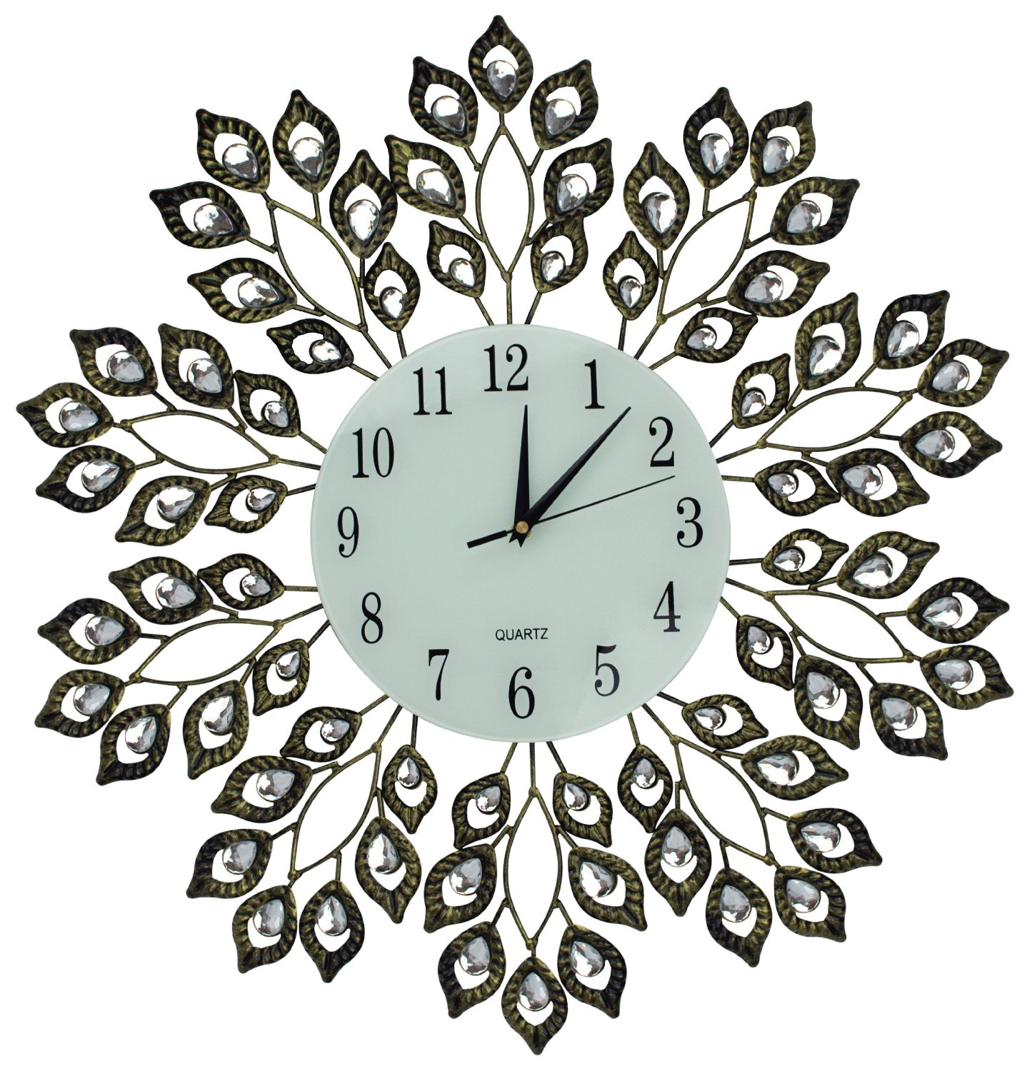"Lulu Decor, 25"" Antique Metal Wall Clock, 9"" White Glass Dial with Arabic Numbers, Decorative Clock for Living Room, Bedroom, Office Space"